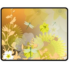 Beautiful Yellow Flowers With Dragonflies Double Sided Fleece Blanket (Medium)