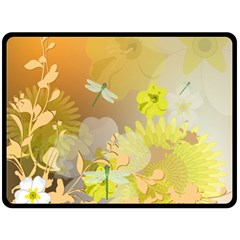 Beautiful Yellow Flowers With Dragonflies Double Sided Fleece Blanket (Large)