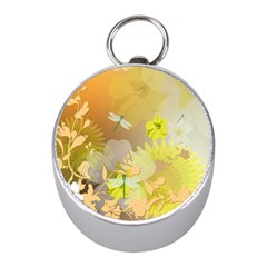 Beautiful Yellow Flowers With Dragonflies Mini Silver Compasses