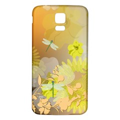 Beautiful Yellow Flowers With Dragonflies Samsung Galaxy S5 Back Case (White)