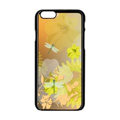 Beautiful Yellow Flowers With Dragonflies Apple iPhone 6 Black Enamel Case