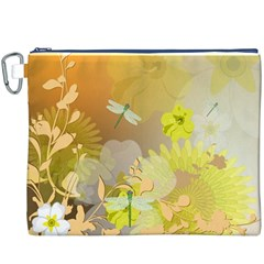 Beautiful Yellow Flowers With Dragonflies Canvas Cosmetic Bag (XXXL)