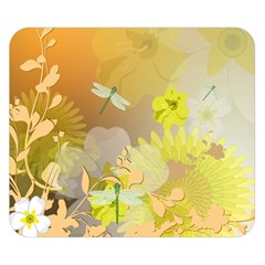 Beautiful Yellow Flowers With Dragonflies Double Sided Flano Blanket (Small)