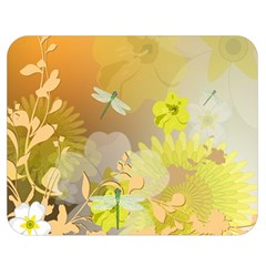 Beautiful Yellow Flowers With Dragonflies Double Sided Flano Blanket (Medium)