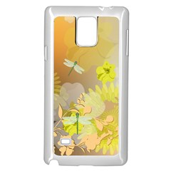 Beautiful Yellow Flowers With Dragonflies Samsung Galaxy Note 4 Case (white)