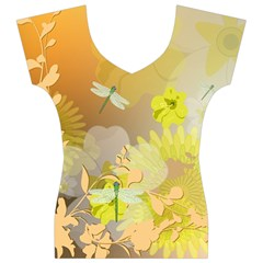 Beautiful Yellow Flowers With Dragonflies Women s V-Neck Cap Sleeve Top