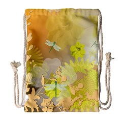Beautiful Yellow Flowers With Dragonflies Drawstring Bag (large)