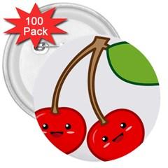 Kawaii Cherry 3  Buttons (100 pack)