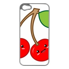 Kawaii Cherry Apple iPhone 5 Case (Silver)
