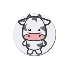 Kawaii Cow Rubber Round Coaster (4 pack)
