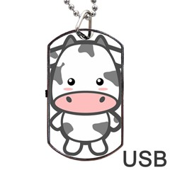 Kawaii Cow Dog Tag USB Flash (One Side)