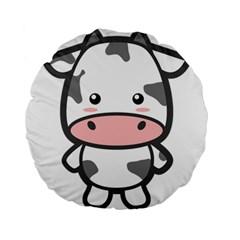 Kawaii Cow Standard 15  Premium Round Cushions