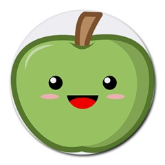 Kawaii Green Apple Round Mousepads