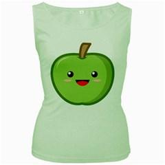 Kawaii Green Apple Women s Green Tank Tops