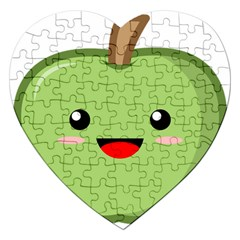 Kawaii Green Apple Jigsaw Puzzle (Heart)