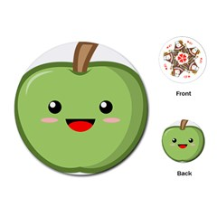 Kawaii Green Apple Playing Cards (Round)