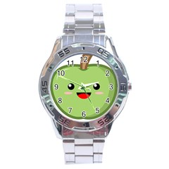 Kawaii Green Apple Stainless Steel Men s Watch