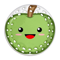 Kawaii Green Apple Ornament (Round Filigree)