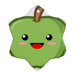 Kawaii Green Apple Ornament (Snowflake)