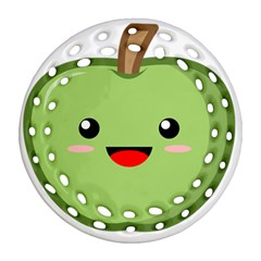 Kawaii Green Apple Round Filigree Ornament (2Side)