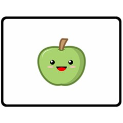 Kawaii Green Apple Double Sided Fleece Blanket (Large)