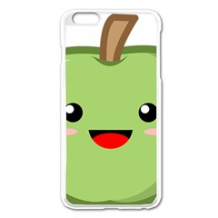 Kawaii Green Apple Apple iPhone 6 Plus Enamel White Case