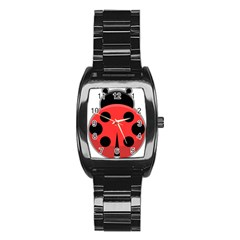 Kawaii Ladybug Stainless Steel Barrel Watch