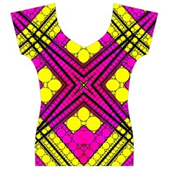 Florescent Pink Yellow Abstract  Women s V-Neck Cap Sleeve Top