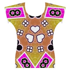 Pink Black Yellow Abstract  Women s Cap Sleeve Top