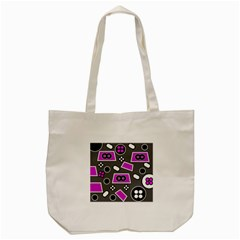 Grey Pink Abstract  Tote Bag (Cream)