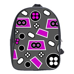 Grey Pink Abstract  School Bags (XL)