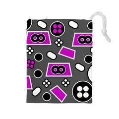 Grey Pink Abstract  Drawstring Pouches (Large)