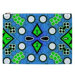 Florescent Blue Green Abstract  Cosmetic Bag (XXL)