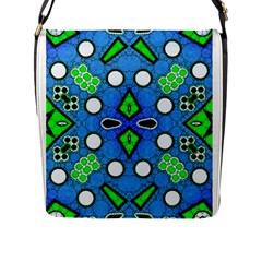 Florescent Blue Green Abstract  Flap Messenger Bag (L)