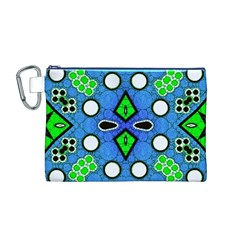 Florescent Blue Green Abstract  Canvas Cosmetic Bag (M)