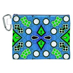 Florescent Blue Green Abstract  Canvas Cosmetic Bag (XXL)