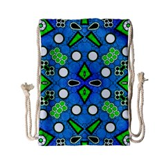 Florescent Blue Green Abstract  Drawstring Bag (Small)
