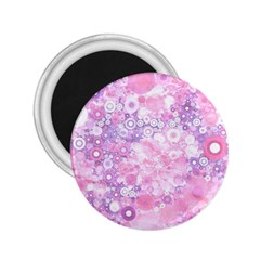 Lovely Allover Ring Shapes Flowers Pink 2.25  Magnets
