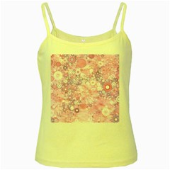 Lovely Allover Ring Shapes Flowers Pink Yellow Spaghetti Tanks
