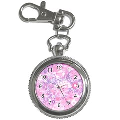 Lovely Allover Ring Shapes Flowers Pink Key Chain Watches