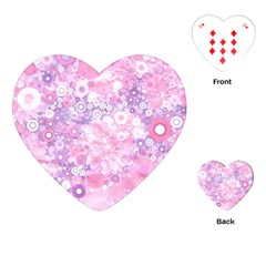 Lovely Allover Ring Shapes Flowers Pink Playing Cards (Heart)