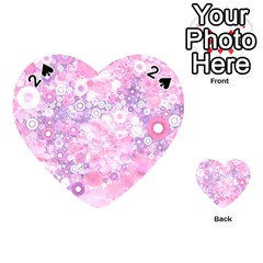 Lovely Allover Ring Shapes Flowers Pink Playing Cards 54 (Heart)
