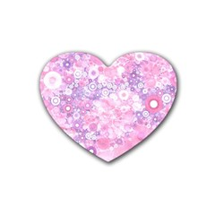 Lovely Allover Ring Shapes Flowers Pink Heart Coaster (4 pack)