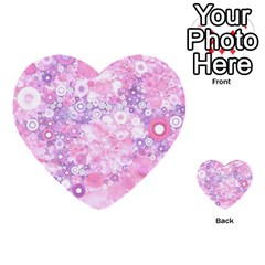 Lovely Allover Ring Shapes Flowers Pink Multi Purpose Cards (heart)