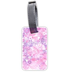 Lovely Allover Ring Shapes Flowers Pink Luggage Tags (one Side)