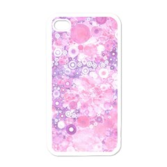 Lovely Allover Ring Shapes Flowers Pink Apple iPhone 4 Case (White)