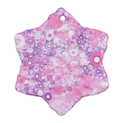 Lovely Allover Ring Shapes Flowers Pink Snowflake Ornament (2-Side)