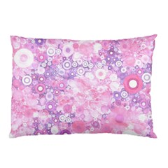 Lovely Allover Ring Shapes Flowers Pink Pillow Cases (Two Sides)
