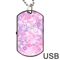 Lovely Allover Ring Shapes Flowers Pink Dog Tag USB Flash (One Side)