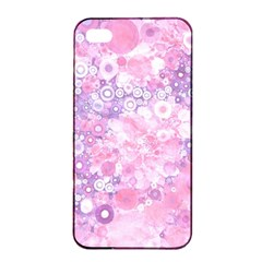 Lovely Allover Ring Shapes Flowers Pink Apple iPhone 4/4s Seamless Case (Black)